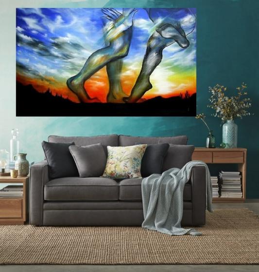 Tableau peinture acrylique grand taille - Photo 2