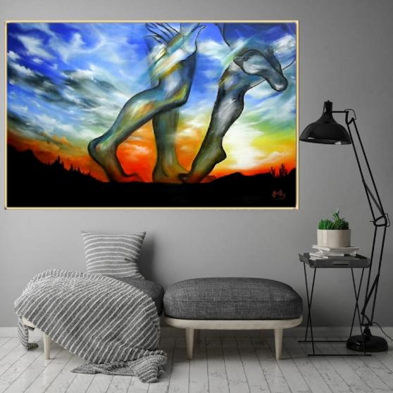 Tableau peinture acrylique grand taille - Photo 3