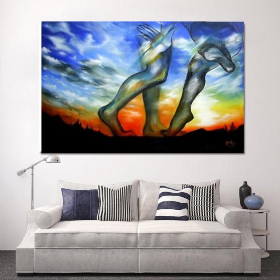 Tableau peinture acrylique grand taille - Photo 4