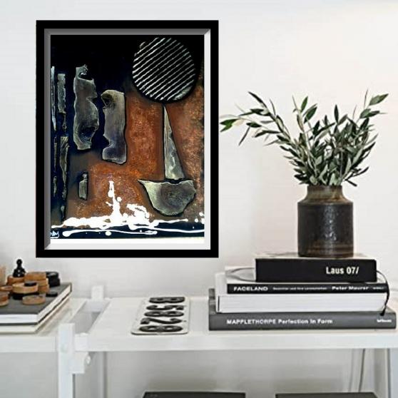 Tableau décoration mixte abstract 02 - Photo 3
