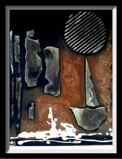 Tableau décoration mixte abstract 02 - Photo 4