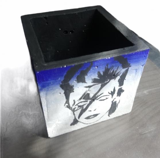 Porte crayon pot de fleur bleu - Photo 3