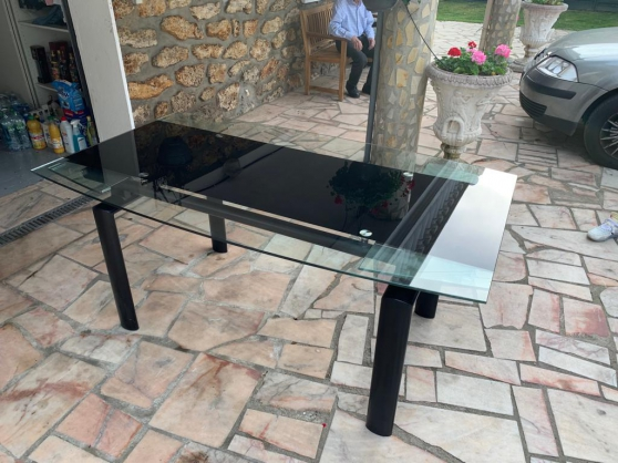 table extensible en verre et metal