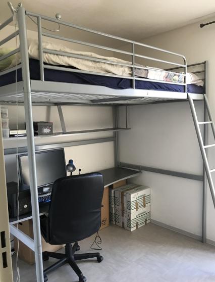 lit mezzanine 140x200 matelas bureau