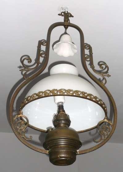 Lustre ancien complet globe en opaline auriol antiquit art brocantes lampes lustres - Lustre a pampilles ancien vendre ...