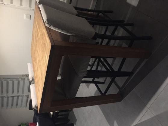 Table haute bois acacia et ses 4 chaises