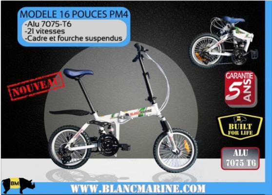 Petite Annonce : Vélo pliable 16pm4 blanc marine - Blanc Marine Cycles, spécialiste français du vélo pliant vous