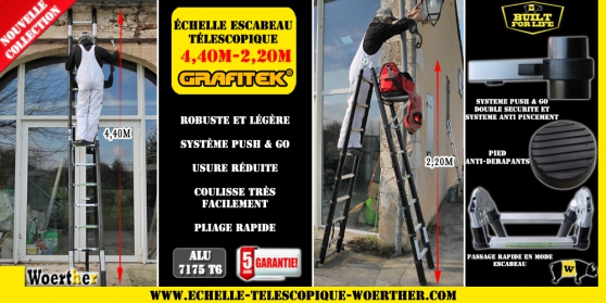Petite Annonce : Échelle tlescopique 4,40m - **Les échelles Woerther sont les plus rigides du marché!! Fabriqué