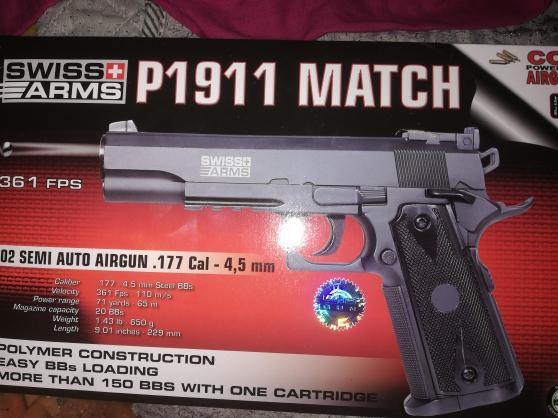 Pistolet colt matche 1911 co2 a plombs