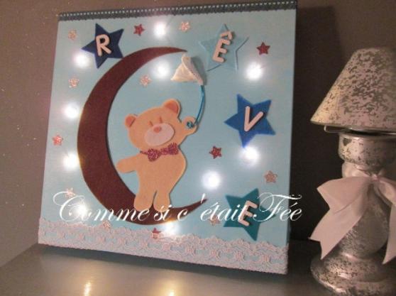 Annonce occasion, vente ou achat 'Cadre lumineux à LED Ourson - bleu'