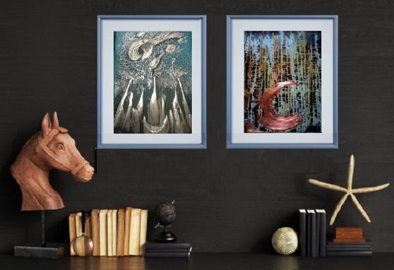 Annonce occasion, vente ou achat 'Tableau peinture relief cuivre lot de 2'