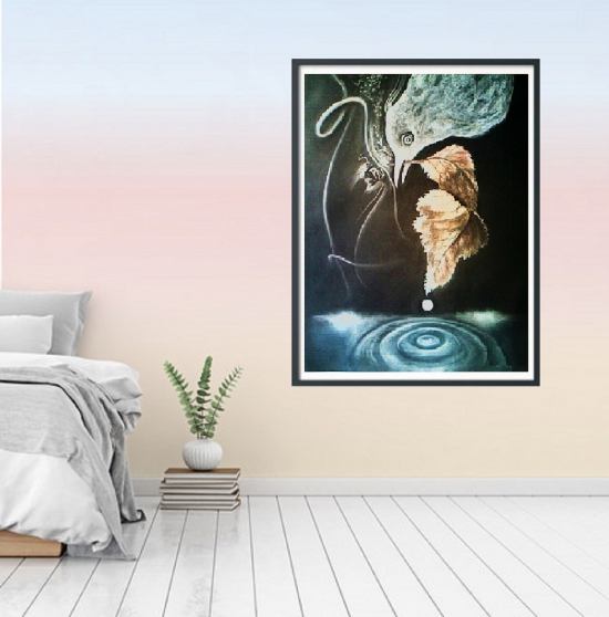 tableau dessin pastel nocturne oiseau