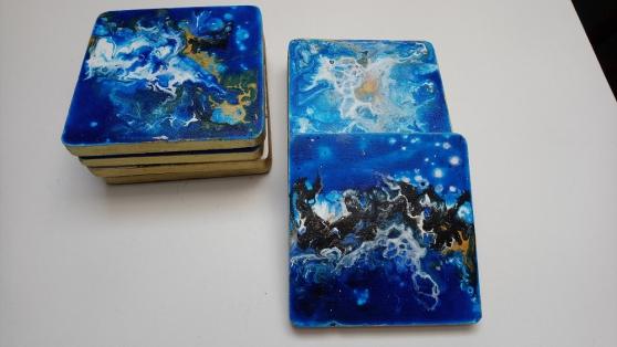 Dessous de verre carré bleu lot 7