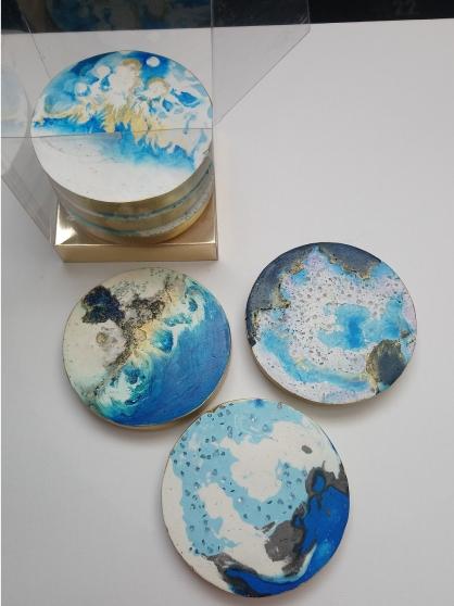 Dessous de verre lot 7 bleu la mer