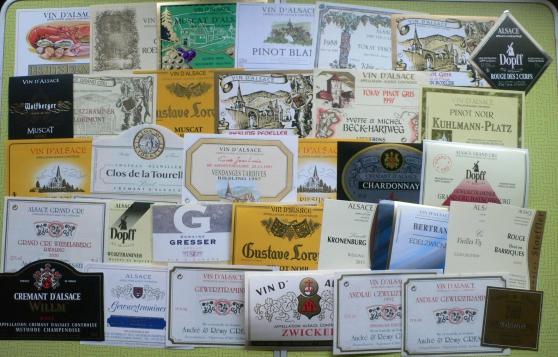 lot 80 etiquettes de vins alsace neuves - Annonce gratuite marche.fr