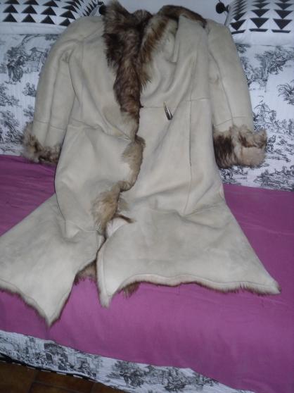 manteau cuir nat /fourrure acryl-neuf-