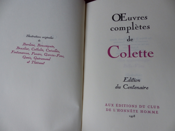 bibliophilie: oeuvres complètes colette - Photo 2