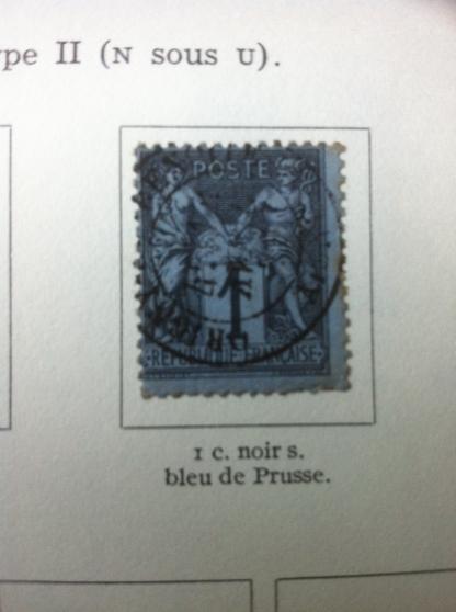 sage 1 c oblitéré noir s.bleu de prusse