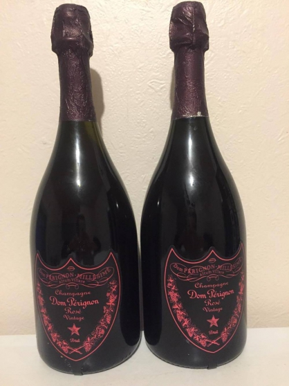 2 bout champagne rosé Dom Perignion 2004