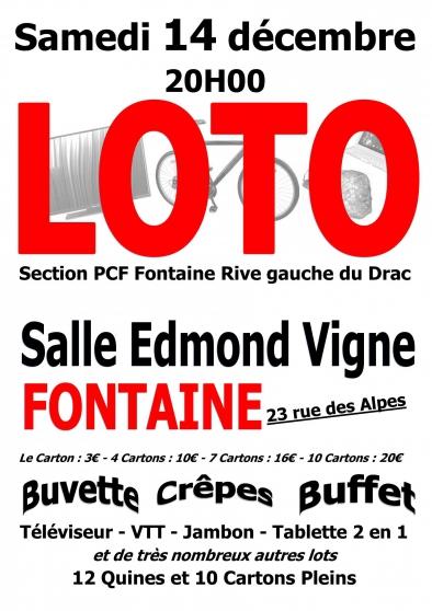Loto Samedi 14 décembre 2019 à Fontaine