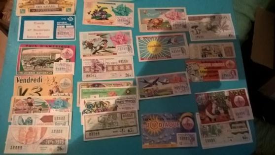 Petite Annonce : Tickets  de loterie pour collection - Lot  de environ  110 tickets de loterie nationale genre  1/10 et