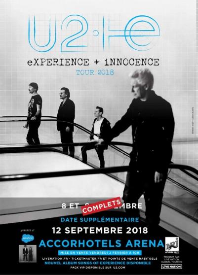 Annonce occasion, vente ou achat '2 billets U2 AccorHotels Arena 08/09'