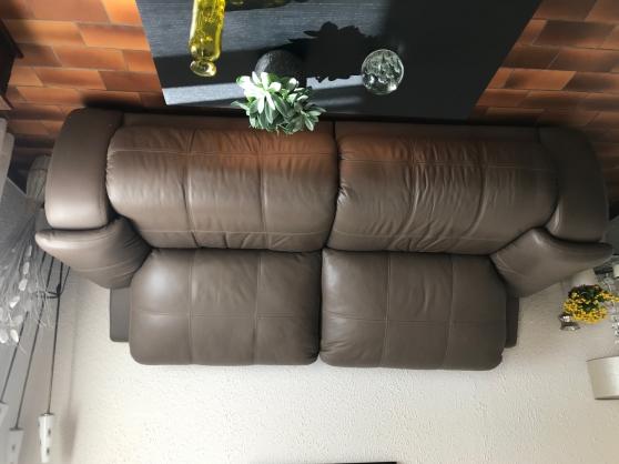 Canapé 3pl + 1 fauteuil cuir électrique