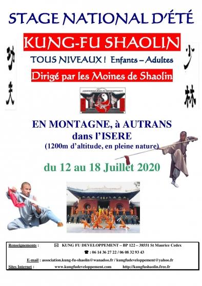 Annonce occasion, vente ou achat 'Stage de Kung Fu avec les Moines de Shao'