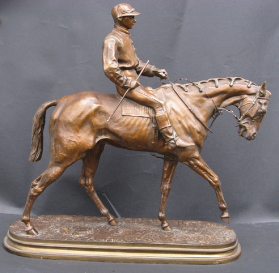 Jockey,Courses,chevaux sculpture bronze.