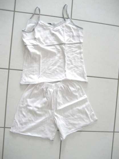 Pyjama short blanc Taille 12 ans