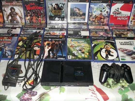 PS2 + manette + 37 JEUX + carte mémoire