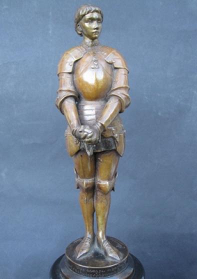 Jeanne d'arc ,sculpture ancienne.Bronze.