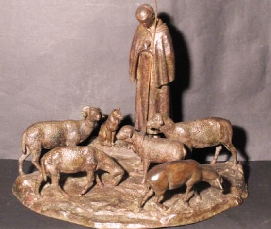 Jeanne d'Arc aux champs.bronze sculpture