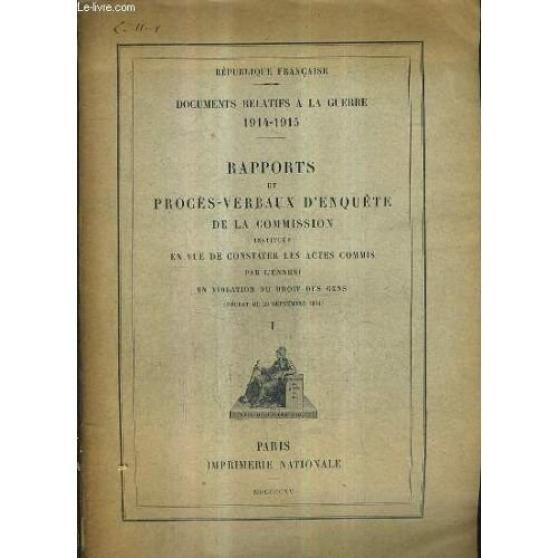 Annonce occasion, vente ou achat 'Documents Relatifs A La Guerre 1914-1915'