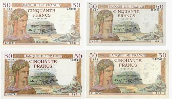 Annonce occasion, vente ou achat 'LOT DE 4 BILLETS 50F CERES SUP C 680€'