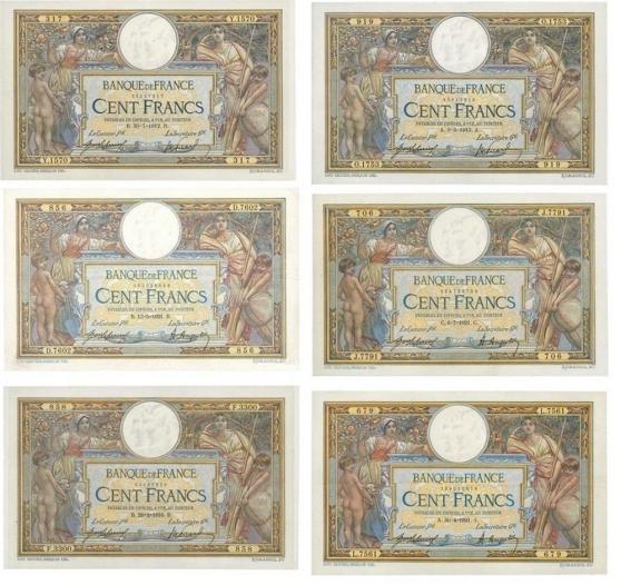 Annonce occasion, vente ou achat 'RARE LOT DE 6 BILLETS 100 F LOMC 950€'