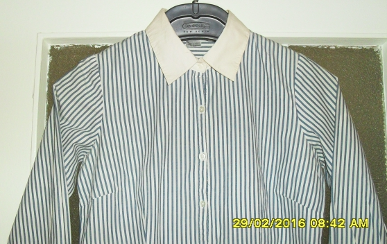 Chemise LA REDOUTE T38 Blanche rayures