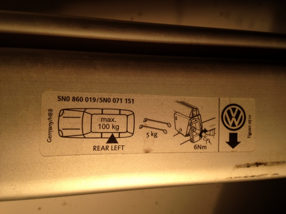 Barres de toit, marque Volkswagen,Tiguan - Photo 2