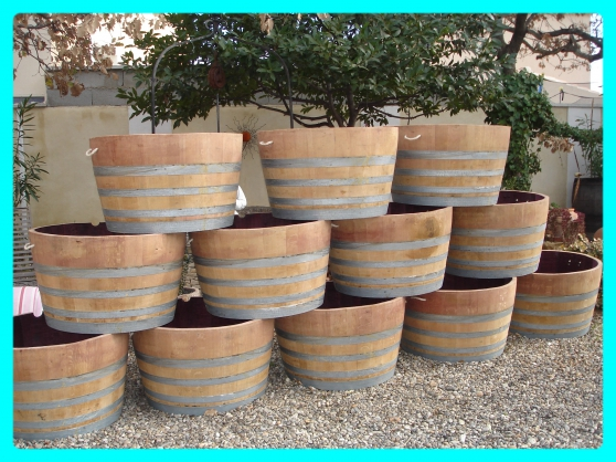 Jardiniere ou tonneau jardin nature bois avignon for Tonneau decoration jardin