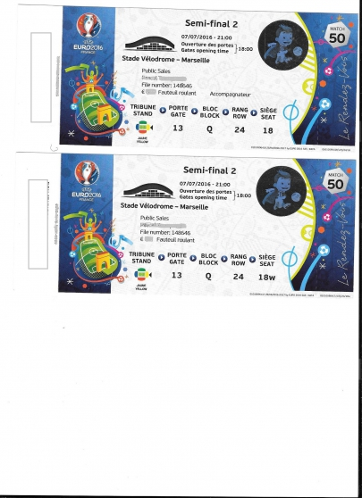 Annonce occasion, vente ou achat '2 places 1/2 finale Euro 2016 velodrome'