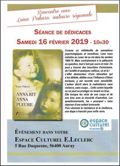 séance de dédicaces - 16/02/2018 - auray - Annonce gratuite marche.fr