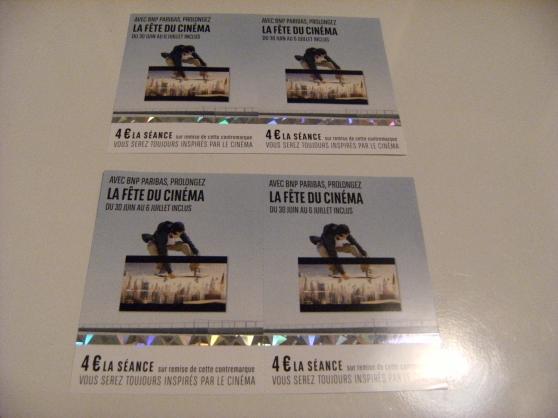 Petite Annonce : 4 contremarques de cinéma - 4 contremarques de cinéma a 4€ la place!  Places valable du 30 Juin