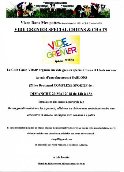 VIDE GRENIER spécial CHIENS & CHATS