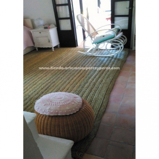 Tapis rectangulaire en sparte naturel - Photo 2