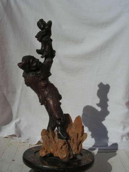 """""""L'HOMME ET L'ENFANT"""" sculture bois"""