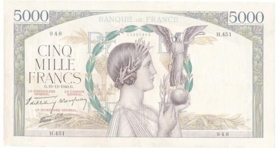 Annonce occasion, vente ou achat 'BILLETS 5000 F VICTOIRE SPL C 280€'