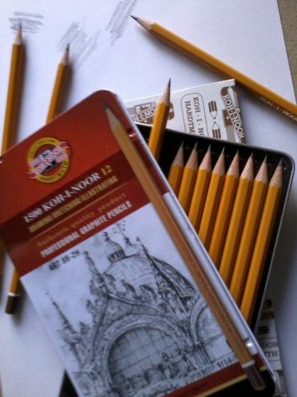 boîte métal crayons graphites - Photo 2