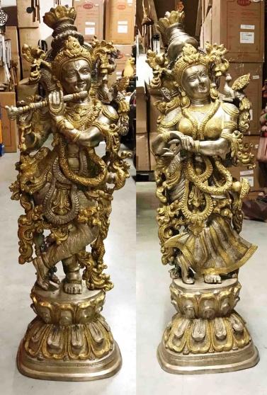Grande statue de Krishna et Radha- H: 74