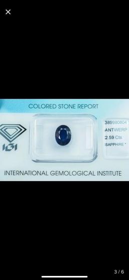 DeepBlue Sapphire 2.59ct avec Certificat