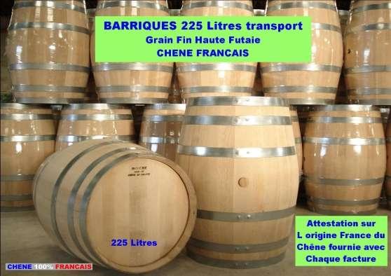 BARRIQUES 225L NEUVES CHENE FRANCAIS
